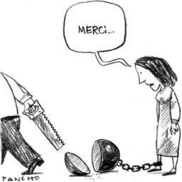 dessin en noir et blanc d'une femme qui a un boulet attaché à son pied.